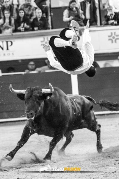 El saltador francés Guillaume Vergonzeanne en uno de sus saltos antes de caer herido.