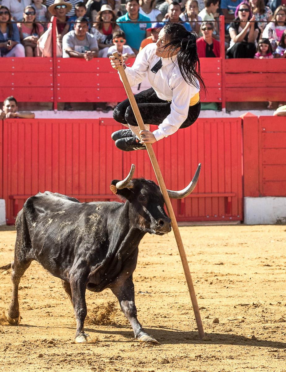 Sarita Ávila en un salto con garrocha.