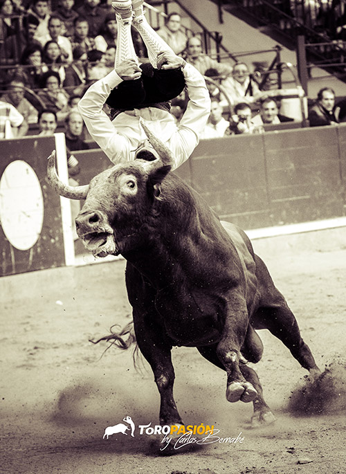 El segoviano Jorge Gómez domina a la perfección la suerte del salto.