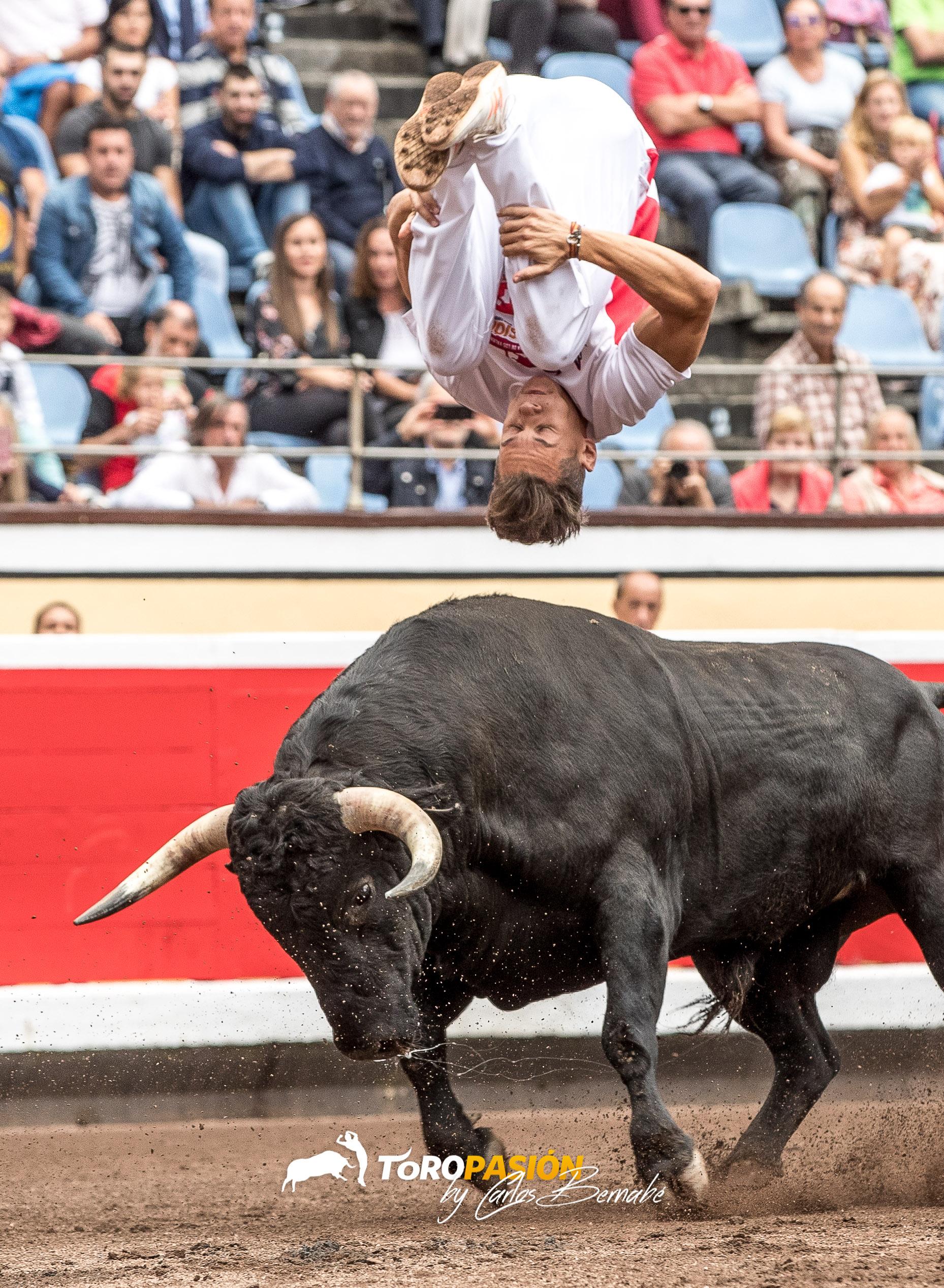 Javier Pradanas sobrevuela a uno de los astados en la edición de 2018.